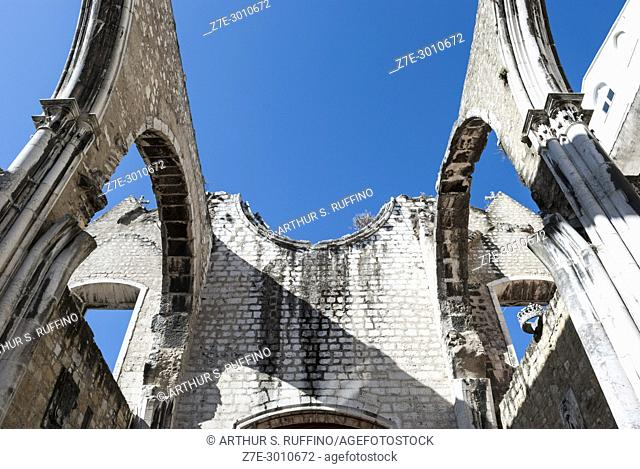 Ruins of the Convento do Carmo (Carmo Convent) damaged during the 1755 earthquake. Detail of the exposed arches under a blue sky
