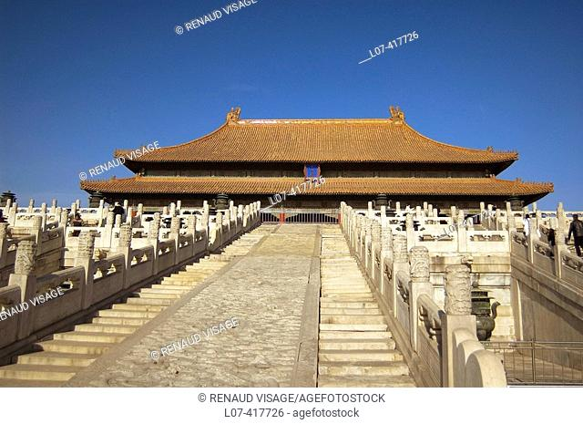 Marble staircase of the courtyard of the Gate of Supreme Harmony in the Forbidden City. Beijing. China