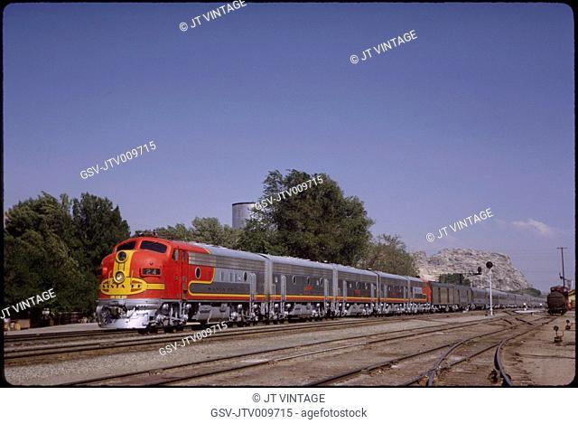 Santa Fe Diesel Locomotive, The Chief Passenger Train, Victorville, California, USA, 1963