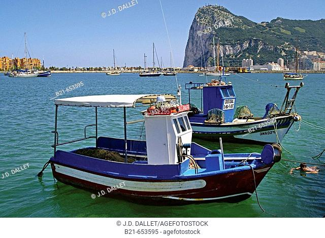 At La Linea, looking to the Rock of Gibraltar. Cádiz province. Andalucia. Spain
