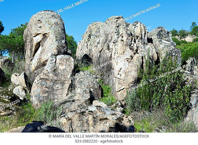 Granite in the Cuba hill. Cadalso de los Vidrios. Madrid. Spain. Europe