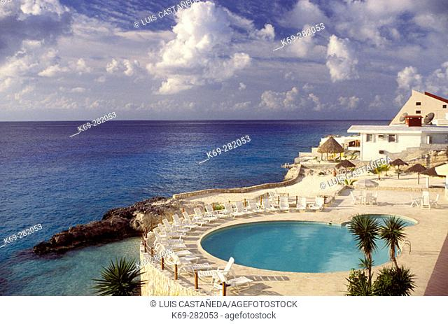 Swimming pool of hotel. Cozumel. Mexico