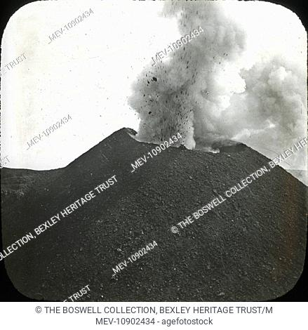 Black and white lantern slide of erupting active volcano. Part of Box 214, Italy, Boswell collection