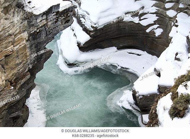 canyon in winter in Jasper National Park, Alberta, Canada