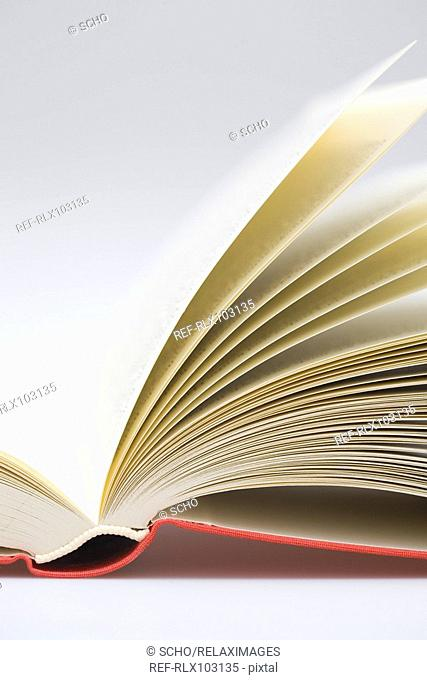 Open book with red spine, Close-up