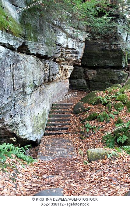 A bridge and carved stone stairs along the Ledges Trail in the Cuyahoga Valley