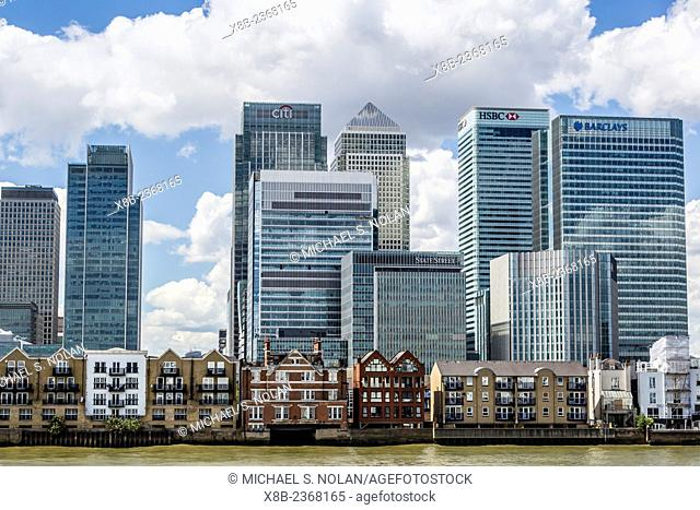 Modern architecture and skyscrapers of The Docklands, Isle of Dogs, London, England, United Kingdom
