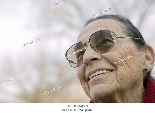Portrait of senior woman wearing eyeglasses