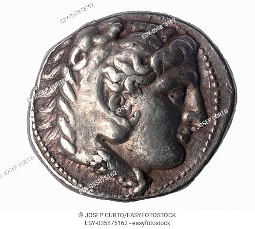 Tetradrachm of Alexander the Great late IV century BC. Front: Head of Hercules with lion skin