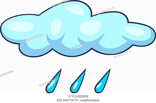 Blue cloud rain icon. Cartoon illustration of blue cloud rain vector icon for web design