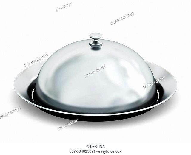 Silver serving plate isolated on white background