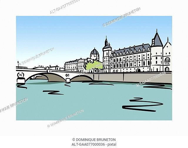 Illustration of the Palais de la Cite in Paris, France