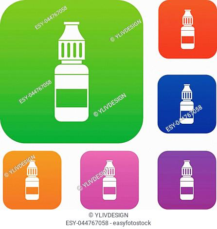 Liquid for electronic cigarettes set icon in different colors isolated vector illustration. Premium collection