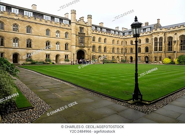 UK, England, Cambridge. Corpus Cristi College, Inner Courtyard, looking toward the main entrance