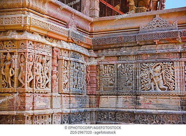 Carved idols on the outer wall of Hatkeshwar Mahadev, 17th century , family deity of Nagar Brahmins. Vadnagar, Gujarat