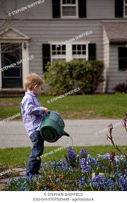 Young Boy Watering Flowers in Front Yard Garden