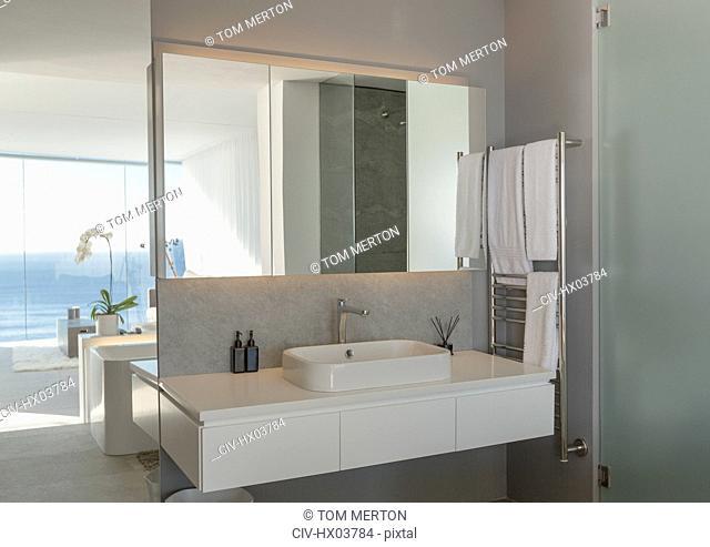Sink in modern, luxury home showcase interior bathroom
