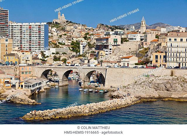 France, Bouches du Rhone, Marseille, 7 th and 8th district, Endoume, Auffes valley, Notre Dame de la Garde (aerial view)