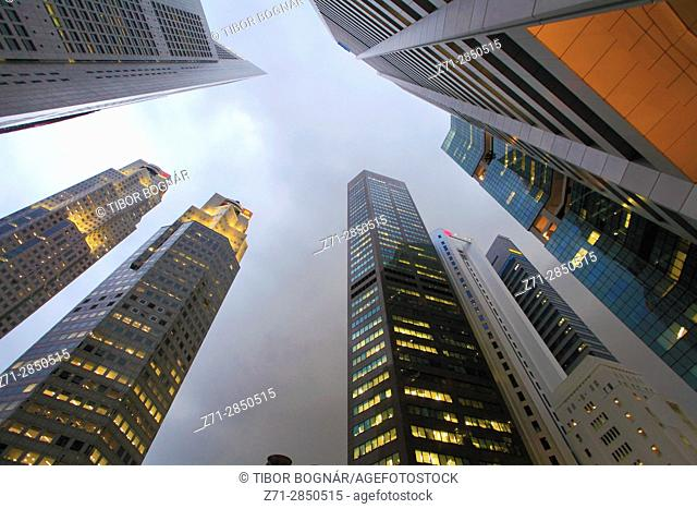 Singapore, Raffles Place, skyscrapers, highrise office buildings,