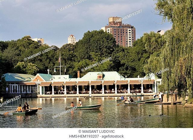 United States, New York City, Manhattan, Central Park, Great Lawn, Loeb Boathouse on lakefront