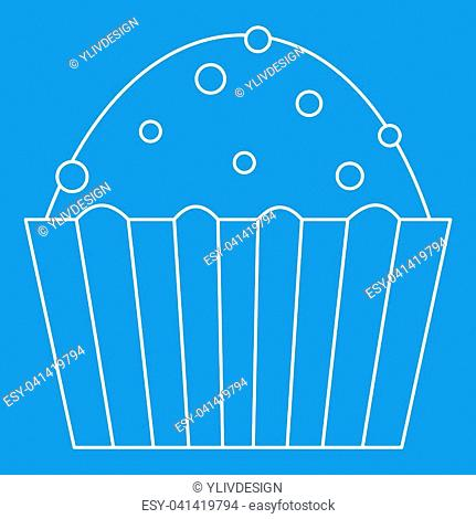 Muffin cake icon blue outline style isolated illustration. Thin line sign