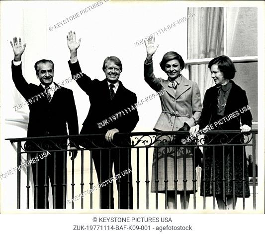 Nov. 14, 1977 - The White House - Waving from the balcony facing the South Lawn of the white house after official welcoming ceremonies are from left to right;...