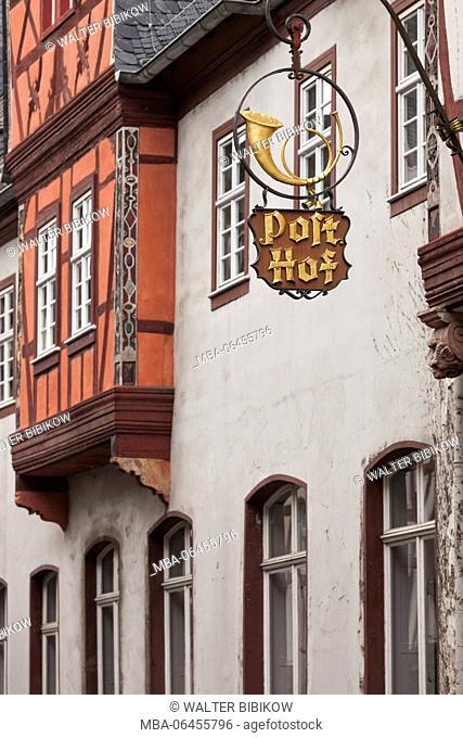 Germany, Rheinland-Pfalz, Bacharach, Hotel zur Post sign