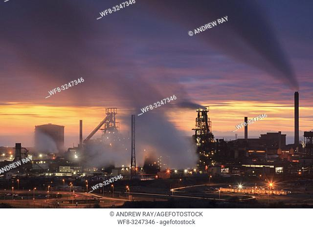 The Tata Steelworks at Port Talbot, in South Wales, captured at sunset from an inland section of the Wales Coast Path on an evening in mid February
