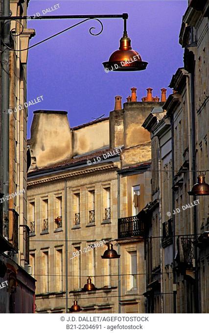 Rue Bouquiere, old Bordeaux, Gironde, Aquitaine, France