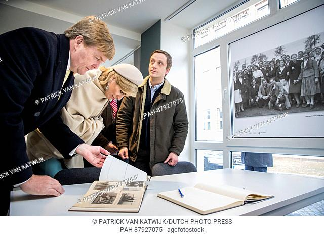 King Willem-Alexander and Queen Maxima of The Netherlands visit information center about forced labour in Wittenberg, Germany, 9 February 2016