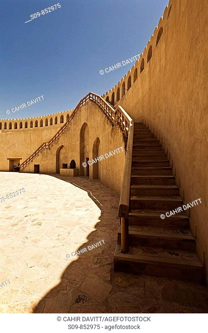 Architectural stairs detail in the fort of Nizwa, Al Jinah, Oman