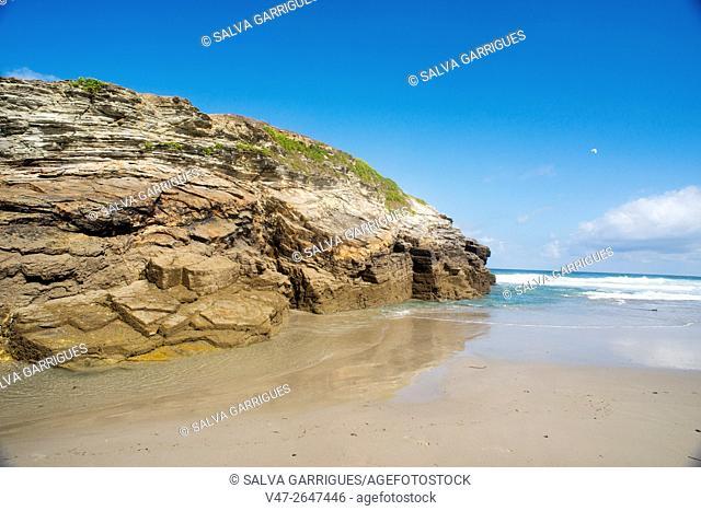 Beach of the cathedrals, Playa de Augas Santas, Ribadeo, Lugo, Galicia, Spain, Europe