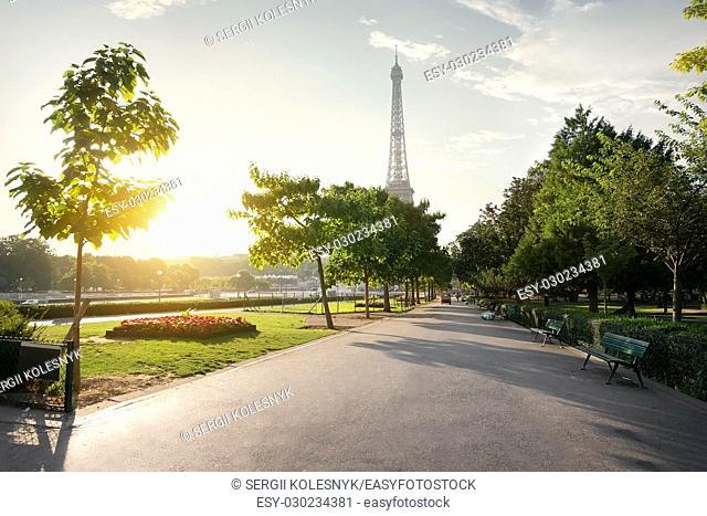 Calm morning in Trocadero Gardens in Paris, France