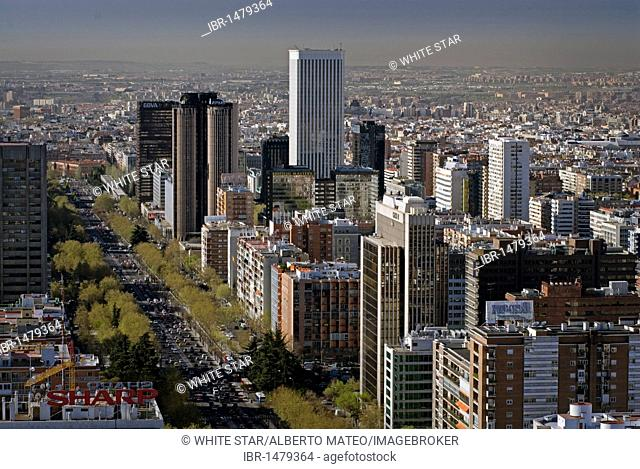 Banks and office buildings, skyscrapers of the AZCA complex on the Paseo de la Castellana, Madrid, Spain, Europe