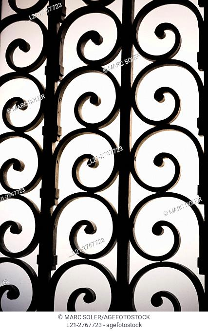Wrought iron spirals, grid