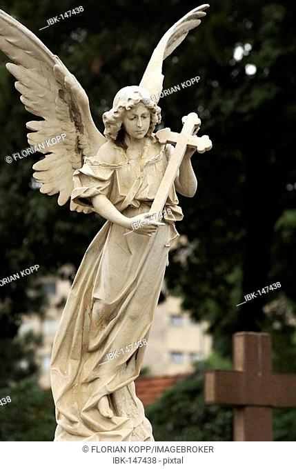 Angel with Crucifix at the graveyard Conceição in São Paulo, Brazil