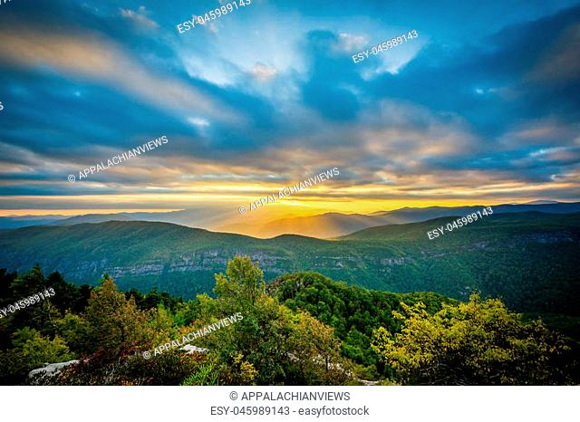 Sunset over the Blue Ridge Mountains from Table Rock, on the rim of Linville Gorge in Pisgah National Forest, North Carolina