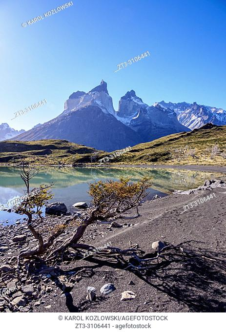 View towards Cuernos del Paine, Torres del Paine National Park, Patagonia, Chile