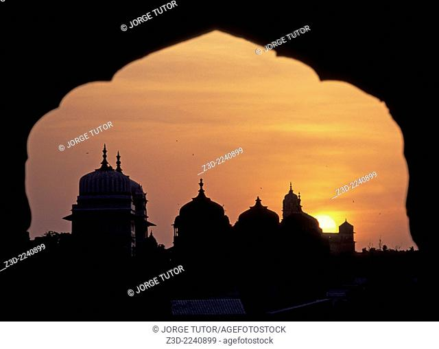 Incredible view of Orchha temples at sunset from Sheesh Mahal Palace Orchha Madhya Pradesh India