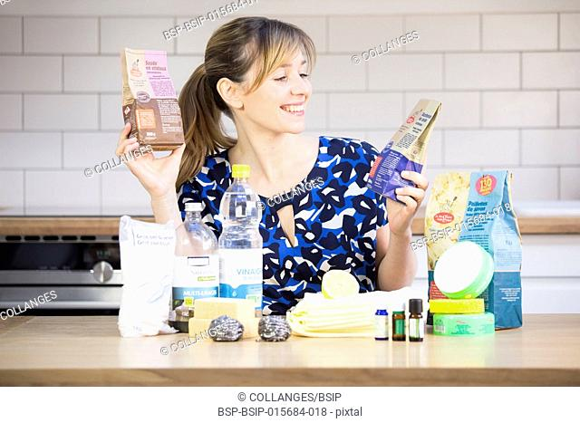 Woman using eco cleaning products