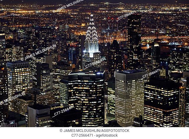New York City, Manhattan, Skyline, Night, Chrysler Building