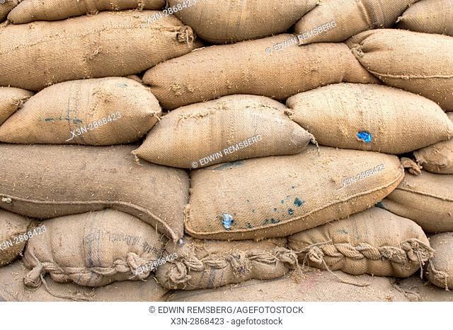 Local grains are stacked in a farming facility in New Delhi, India