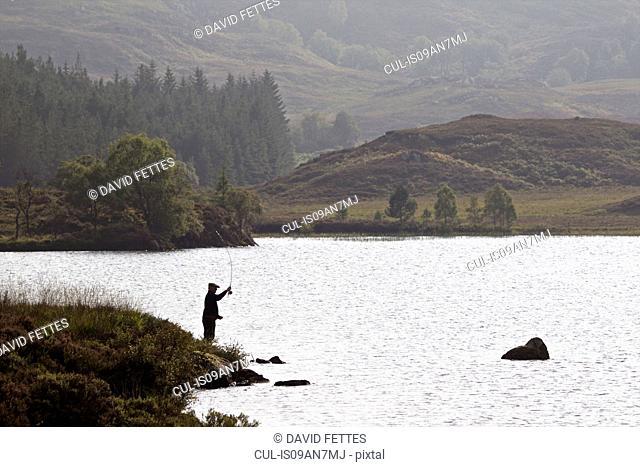 Man fishing, Lock Kemp, Whitebridge, Scotland