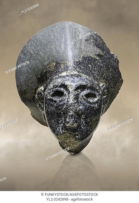 Hittite statue head of the Sun Goddess . Basalt, Hittie Period 1650 - 1450 BC. Hattusa BoÄŸazkale. Çorum Archaeological Museum, Corum, Turkey