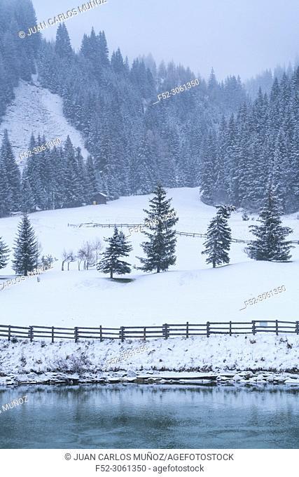 Snowing in autumn, Corvara in Badia, Dolomites, Unesco World Heritage Site, Italy, Europe
