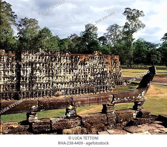 Leper King's Terrace, Angkor Thom, Angkor, UNESCO World Heritage Site, Cambodia, Indochina, Southeast Asia, Asia