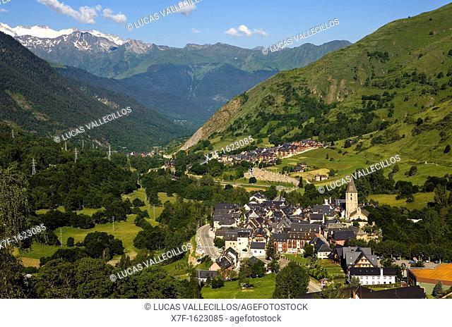 At right Salardú village  In background Gessa village,Aran Valley,Pyrenees, Lleida province, Catalonia, Spain
