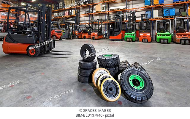 Forklift tires in warehouse