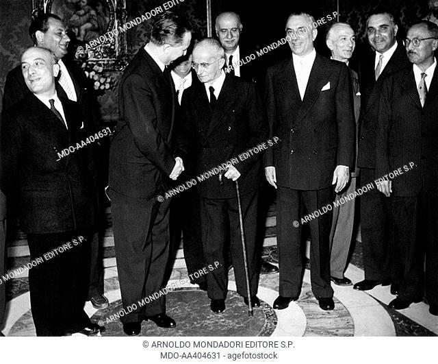 Luigi Einaudi receiving the ministers of the Palla government. President of the Italian Republic Luigi Einaudi receiving for Christmas greetings the politicians...