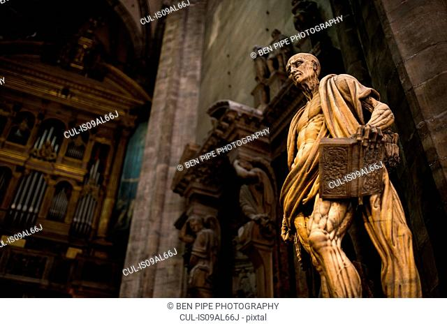 Statue inside Milan Cathedral, Piazza Duomo, Milan, Lombardy, Italy